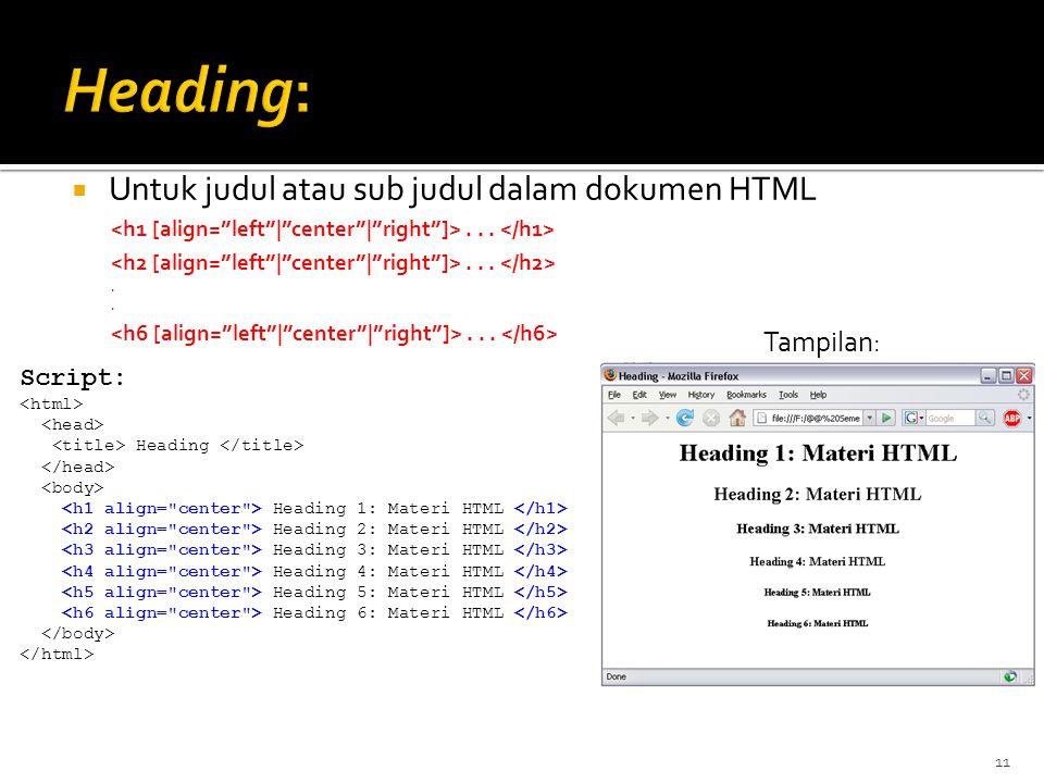 11  Untuk judul atau sub judul dalam dokumen HTML.......