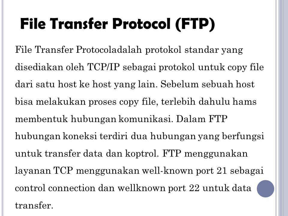 File Transfer Protocoladalah protokol standar yang disediakan oleh TCP/IP sebagai protokol untuk copy file dari satu host ke host yang lain. Sebelum s