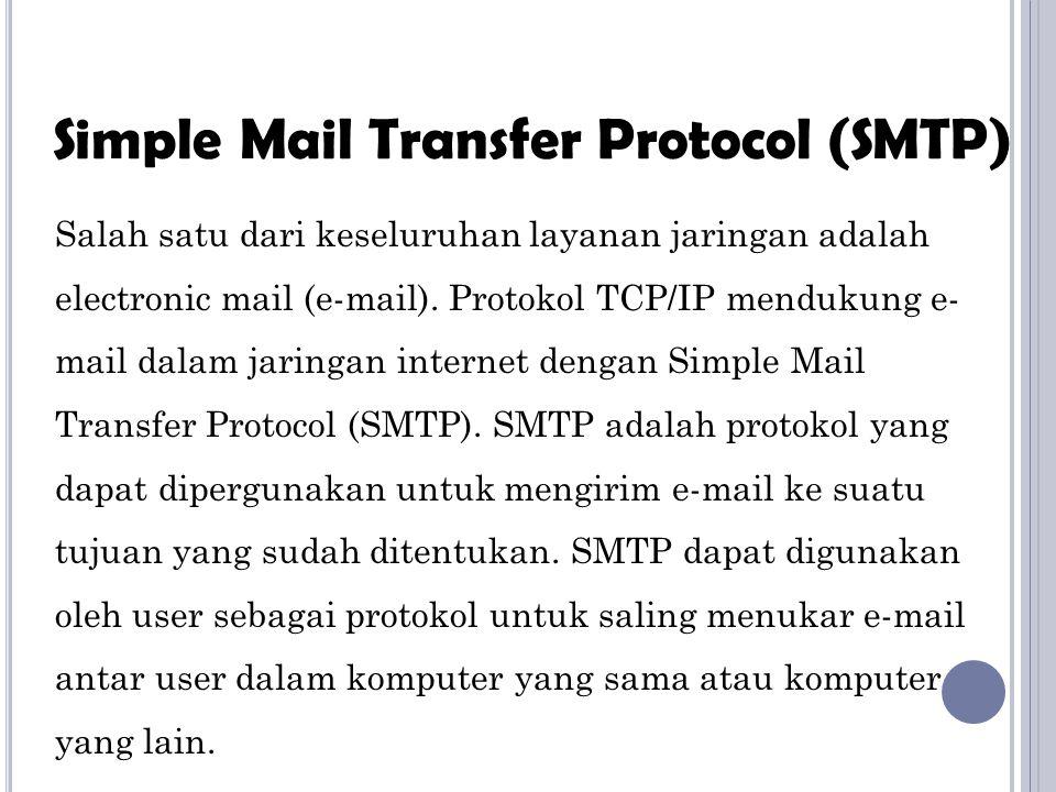 Layanan SMTP yaitu: Untuk mengirimkan satu pesan ke satu atau banyak penerima Untuk mengirim pesan termasuk teks, suara, video, dan grafik Untuk mengirim pesan ke user dalam satu jaringan ataupun di luar jaringan Next..