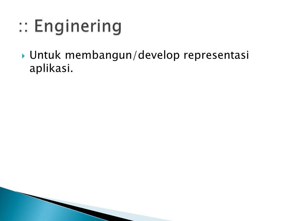  Untuk membangun/develop representasi aplikasi.