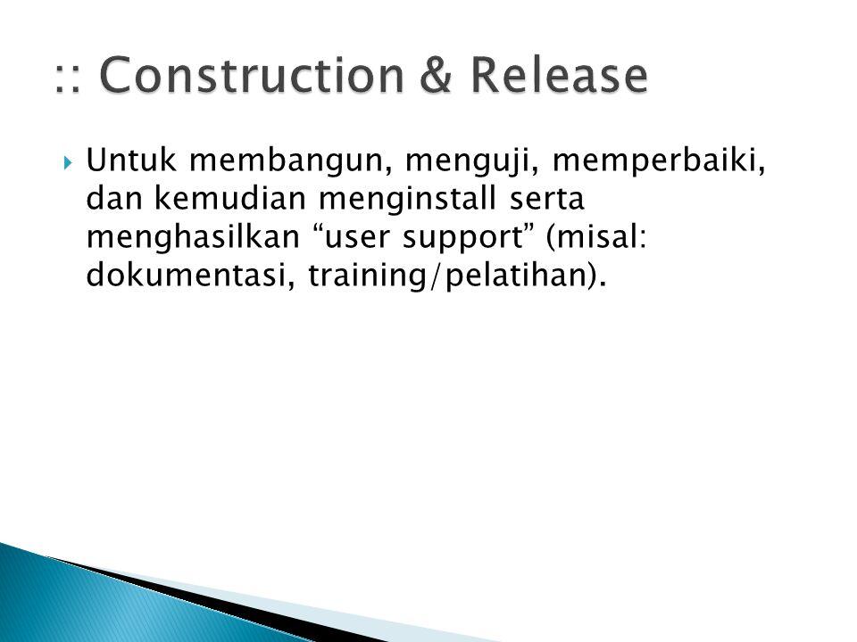""" Untuk membangun, menguji, memperbaiki, dan kemudian menginstall serta menghasilkan """"user support"""" (misal: dokumentasi, training/pelatihan)."""