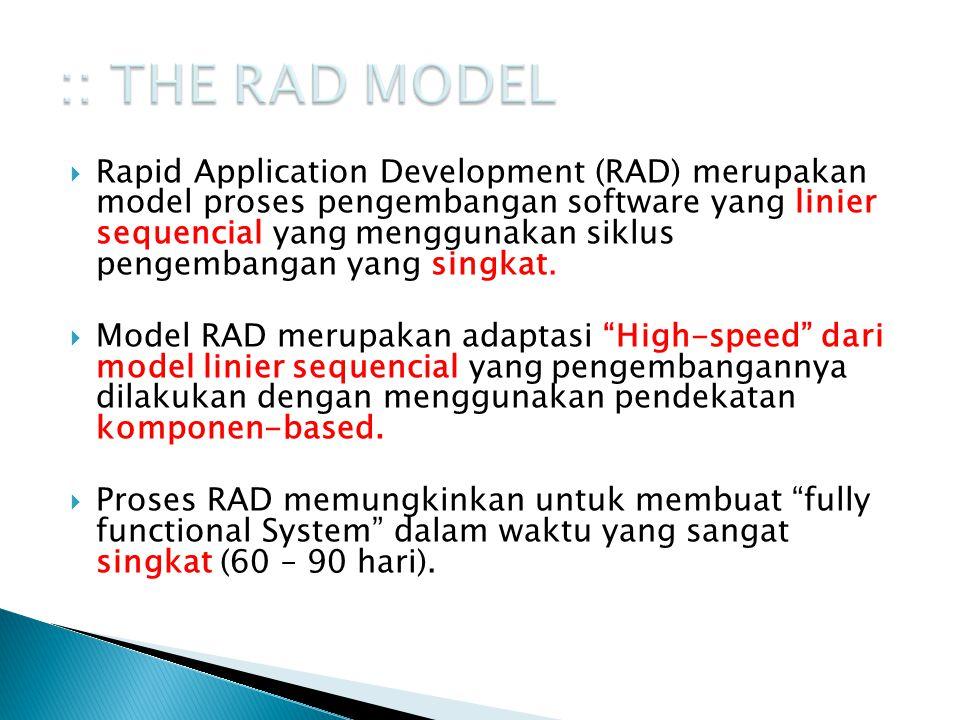  Rapid Application Development (RAD) merupakan model proses pengembangan software yang linier sequencial yang menggunakan siklus pengembangan yang si