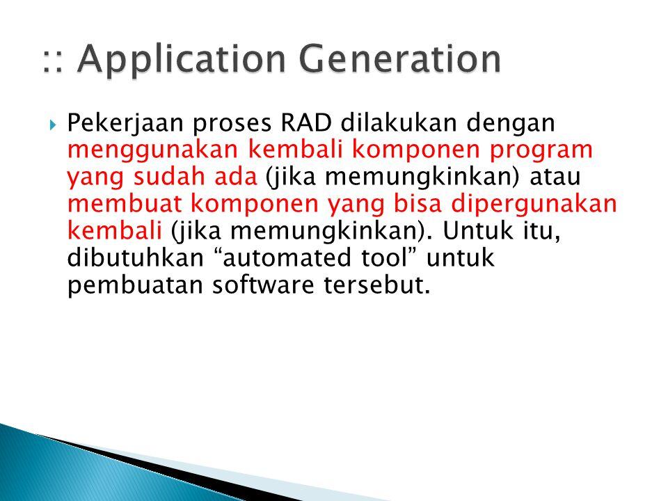  Pekerjaan proses RAD dilakukan dengan menggunakan kembali komponen program yang sudah ada (jika memungkinkan) atau membuat komponen yang bisa diperg