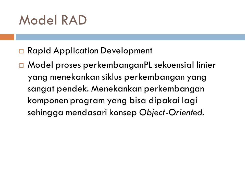 Model RAD  Rapid Application Development  Model proses perkembanganPL sekuensial linier yang menekankan siklus perkembangan yang sangat pendek. Mene