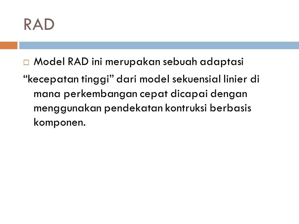 "RAD  Model RAD ini merupakan sebuah adaptasi ""kecepatan tinggi"" dari model sekuensial linier di mana perkembangan cepat dicapai dengan menggunakan pe"