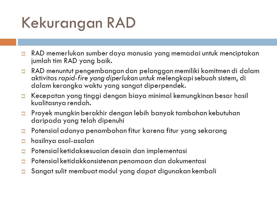 Kekurangan RAD  RAD memerlukan sumber daya manusia yang memadai untuk menciptakan jumlah tim RAD yang baik.  RAD menuntut pengembangan dan pelanggan