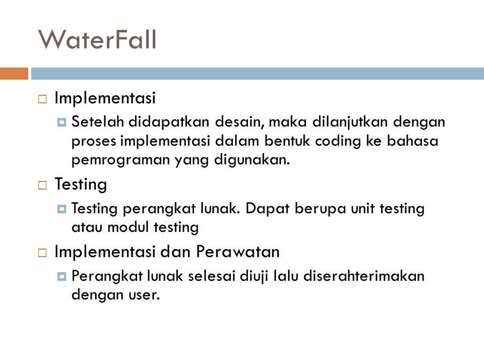 WaterFall  Implementasi  Setelah didapatkan desain, maka dilanjutkan dengan proses implementasi dalam bentuk coding ke bahasa pemrograman yang digun