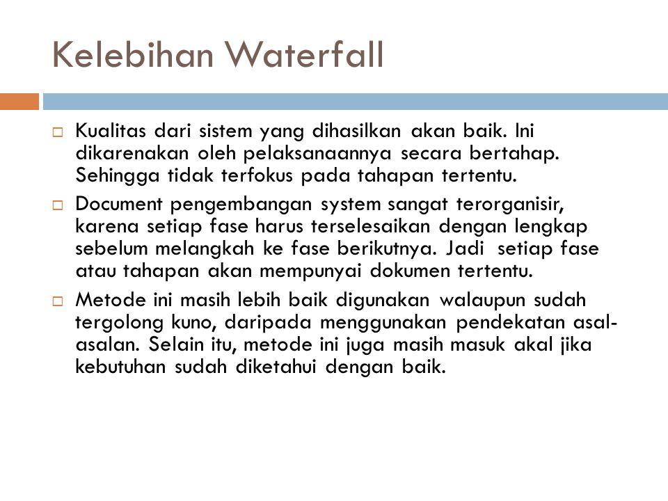 Kelebihan Waterfall  Kualitas dari sistem yang dihasilkan akan baik. Ini dikarenakan oleh pelaksanaannya secara bertahap. Sehingga tidak terfokus pad