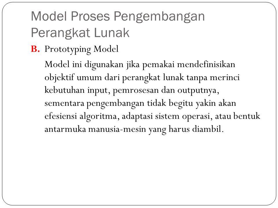 Model Proses Pengembangan Perangkat Lunak B. Prototyping Model Model ini digunakan jika pemakai mendefinisikan objektif umum dari perangkat lunak tanp