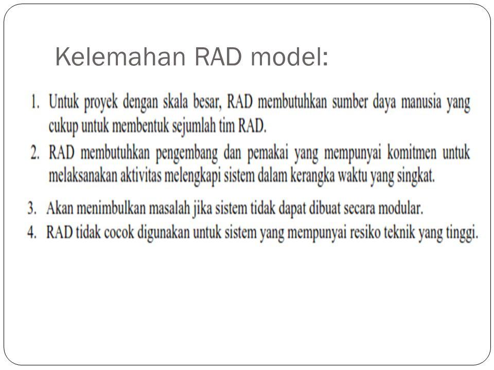 Kelemahan RAD model: