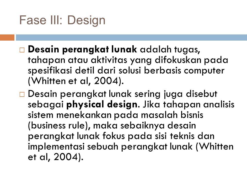 Output utama dari tahapan desain perangkat lunak adalah spesifikasi desain.