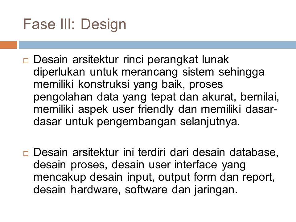 Desain arsitektur rinci perangkat lunak diperlukan untuk merancang sistem sehingga memiliki konstruksi yang baik, proses pengolahan data yang tepat dan akurat, bernilai, memiliki aspek user friendly dan memiliki dasar- dasar untuk pengembangan selanjutnya.