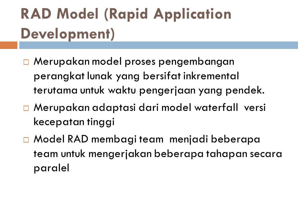 RAD Model (Rapid Application Development)  Merupakan model proses pengembangan perangkat lunak yang bersifat inkremental terutama untuk waktu pengerjaan yang pendek.