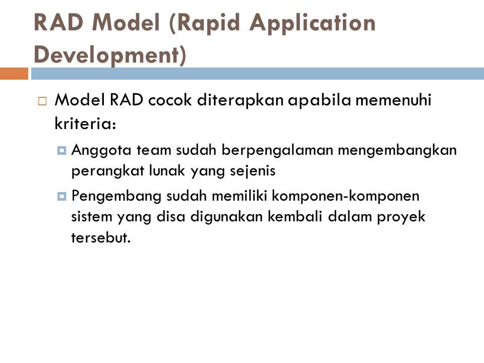 RAD Model (Rapid Application Development)  Model RAD cocok diterapkan apabila memenuhi kriteria:  Anggota team sudah berpengalaman mengembangkan perangkat lunak yang sejenis  Pengembang sudah memiliki komponen-komponen sistem yang disa digunakan kembali dalam proyek tersebut.