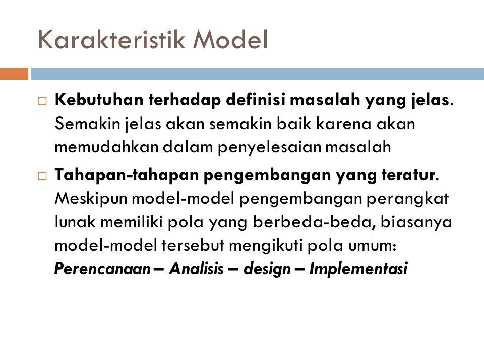 Karakteristik Model  Kebutuhan terhadap definisi masalah yang jelas.