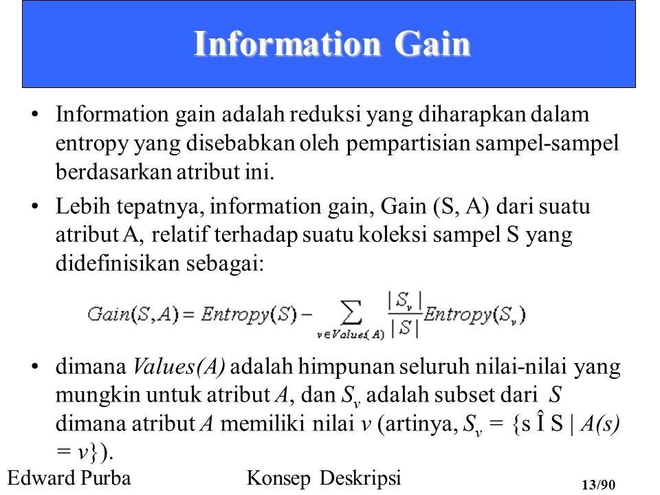 Edward PurbaKonsep Deskripsi 12/90 Information Gain Suatu ukuran berharga dari suatu atribut adalah suatu properti statistik yang disebut information gain.