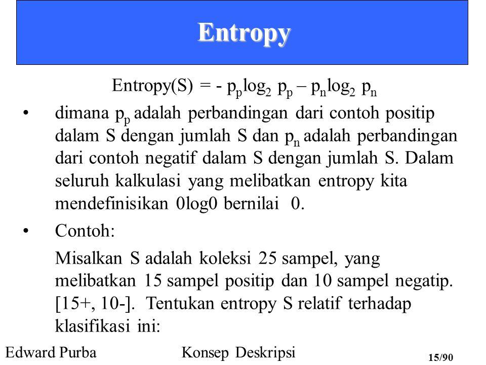 Edward PurbaKonsep Deskripsi 14/90 Entropy Entropy adalah suatu ukuran homogenitas dari sekumpulan sampel Entropy adalah suatu ukuran yang umum digunakan dalam teori informasi Entropy menggambarkan kemurnian (ketakmurnian) dari suatu koleksi sampel sebarang Diberikan suatu himpunan S, memuat hanya contoh- contoh positif dan negatif dari suatu konsep target (suatu problem 2 kelas), entropy dari himpunan S relatif terhadap klasifikasi biner dan sederhana didefinisikan sebagai berikut: