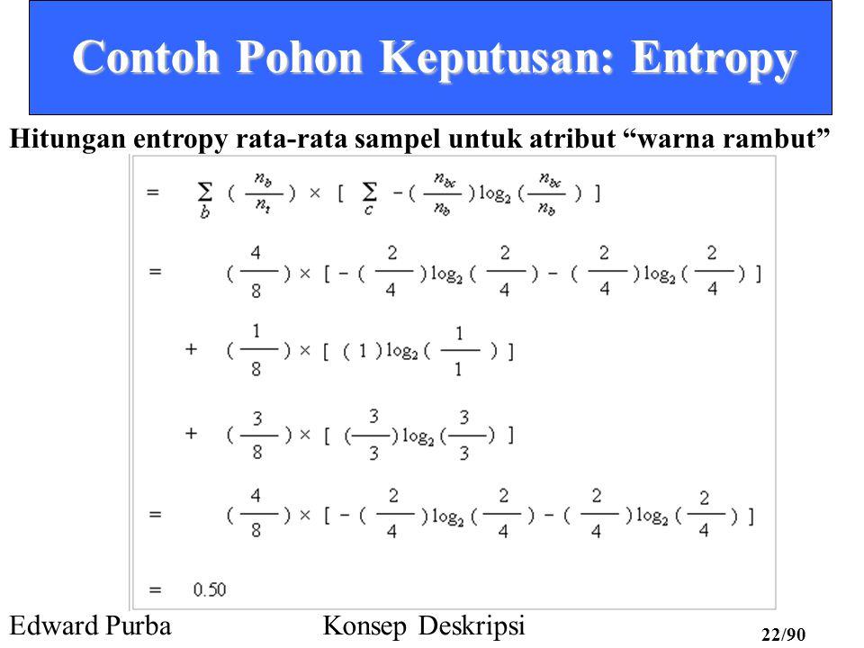 Edward PurbaKonsep Deskripsi 21/90 Contoh Pohon Keputusan: Entropy Fase 1: dari Data ke Pohon Melakukan kalkulasi entropy rata-rata pada data set lengkap untuk masing-masing dari ke-empat atribut Warna rambut blonde red brown 2 positip 2 negatip 1 positip 3 negatip Total sampel = 8