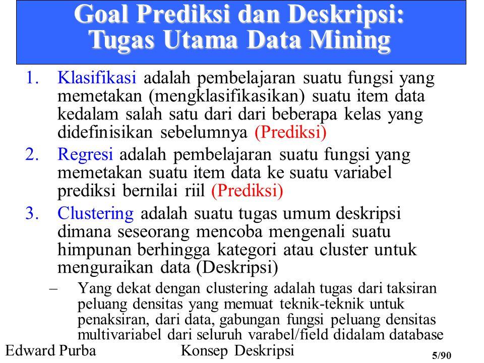 Edward PurbaKonsep Deskripsi 5/90 Goal Prediksi dan Deskripsi: Tugas Utama Data Mining 1.Klasifikasi adalah pembelajaran suatu fungsi yang memetakan (mengklasifikasikan) suatu item data kedalam salah satu dari dari beberapa kelas yang didefinisikan sebelumnya (Prediksi) 2.Regresi adalah pembelajaran suatu fungsi yang memetakan suatu item data ke suatu variabel prediksi bernilai riil (Prediksi) 3.Clustering adalah suatu tugas umum deskripsi dimana seseorang mencoba mengenali suatu himpunan berhingga kategori atau cluster untuk menguraikan data (Deskripsi) –Yang dekat dengan clustering adalah tugas dari taksiran peluang densitas yang memuat teknik-teknik untuk penaksiran, dari data, gabungan fungsi peluang densitas multivariabel dari seluruh varabel/field didalam database