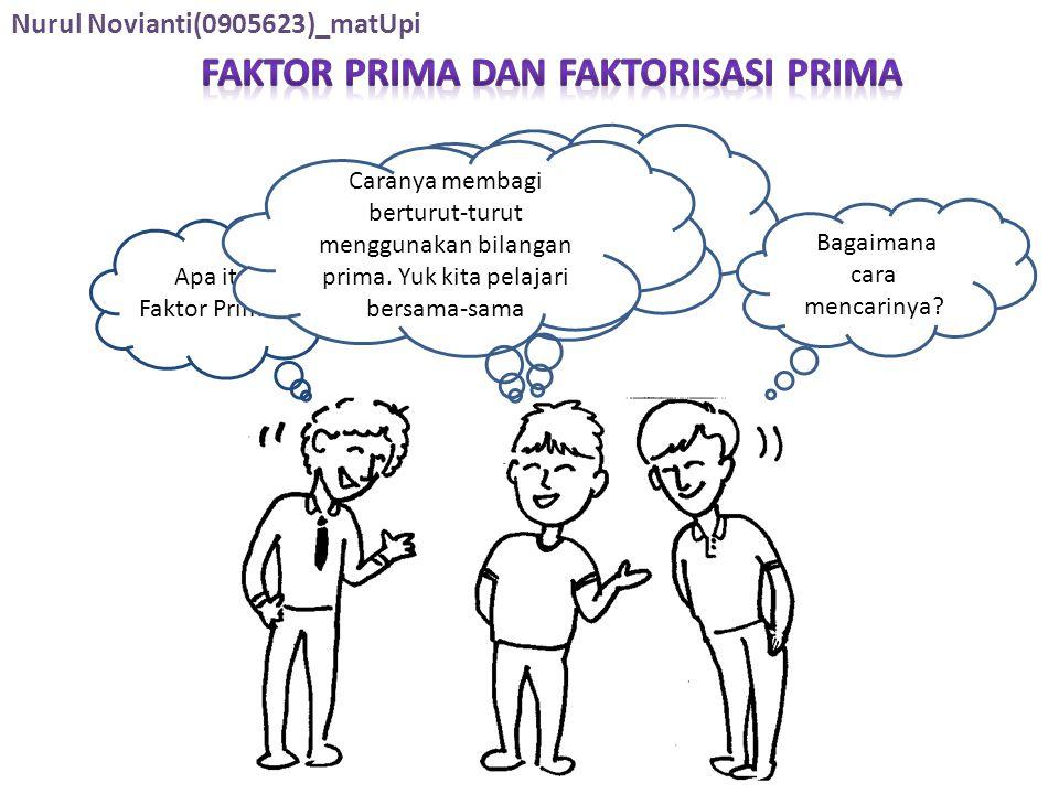 Apa itu Faktor Prima? Faktor Prima yaitu faktor-faktor yang berupa bilangan prima Bagaimana cara mencarinya? Caranya membagi berturut-turut menggunaka