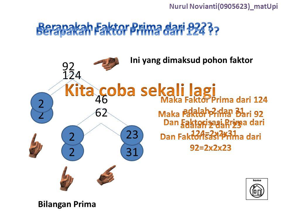124 2 62 231 Ini yang dimaksud pohon faktor Bilangan Prima 92 2 46 2 23 Nurul Novianti(0905623)_matUpi
