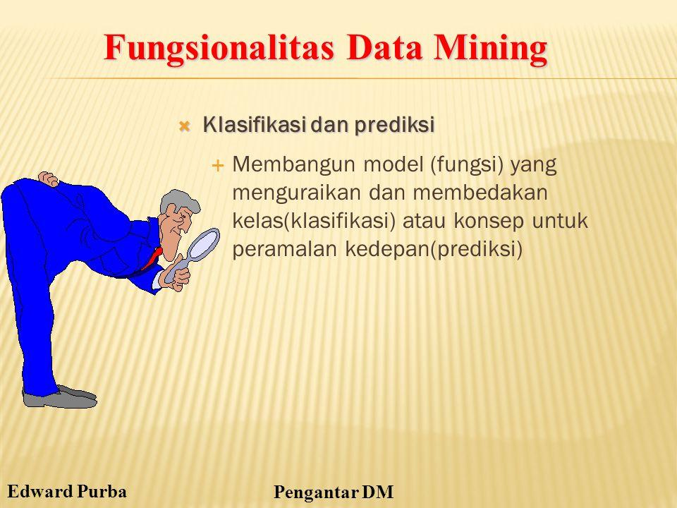Edward Purba Pengantar DM  Klasifikasi dan prediksi  Membangun model (fungsi) yang menguraikan dan membedakan kelas(klasifikasi) atau konsep untuk p