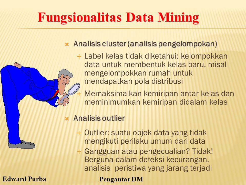 Edward Purba Pengantar DM  Analisis cluster (analisis pengelompokan)  Label kelas tidak diketahui: kelompokkan data untuk membentuk kelas baru, misa