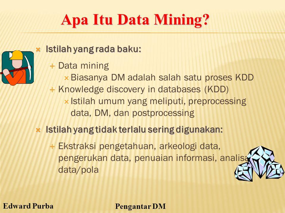 Edward Purba Pengantar DM  Istilah yang rada baku:  Data mining  Biasanya DM adalah salah satu proses KDD  Knowledge discovery in databases (KDD)