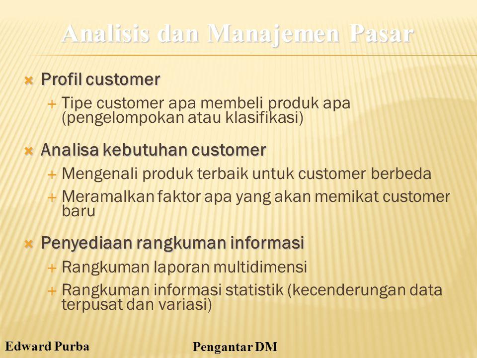 Edward Purba Pengantar DM  Profil customer  Tipe customer apa membeli produk apa (pengelompokan atau klasifikasi)  Analisa kebutuhan customer  Men