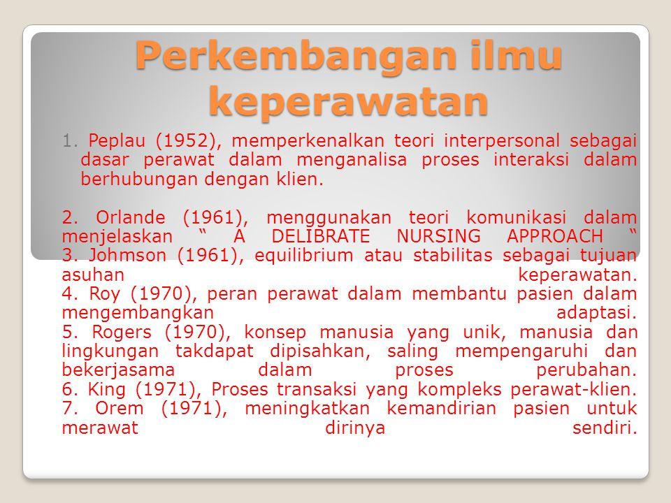 Perkembangan ilmu keperawatan 1. Peplau (1952), memperkenalkan teori interpersonal sebagai dasar perawat dalam menganalisa proses interaksi dalam berh