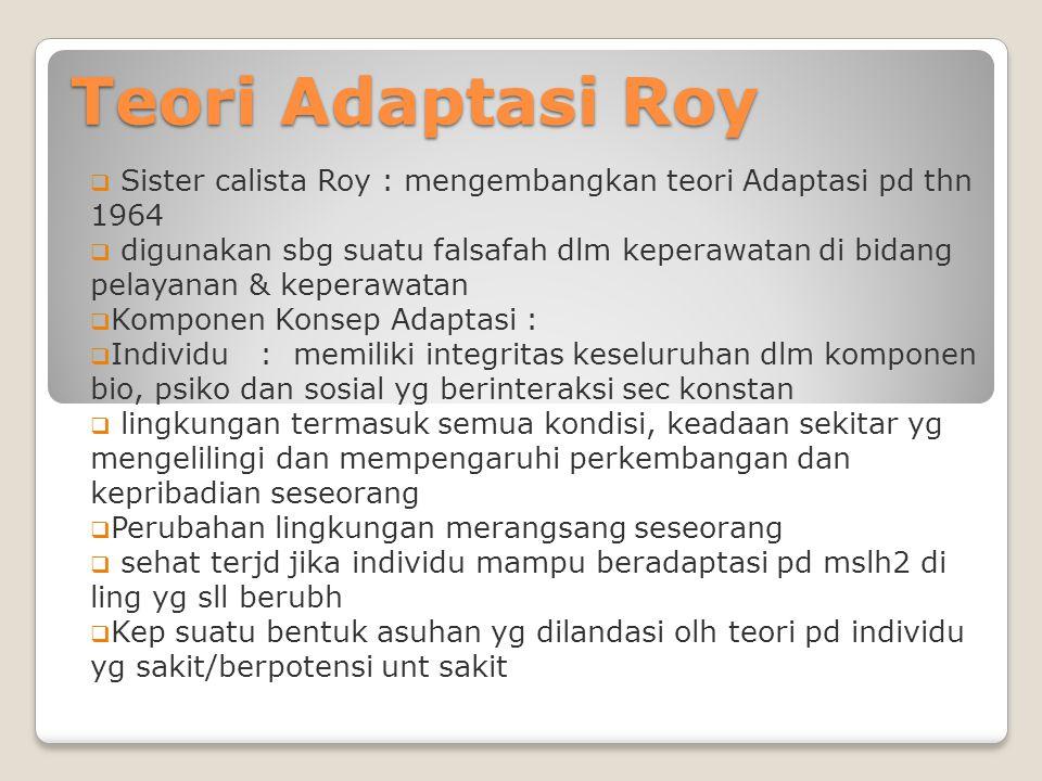 Teori Adaptasi Roy  Sister calista Roy : mengembangkan teori Adaptasi pd thn 1964  digunakan sbg suatu falsafah dlm keperawatan di bidang pelayanan