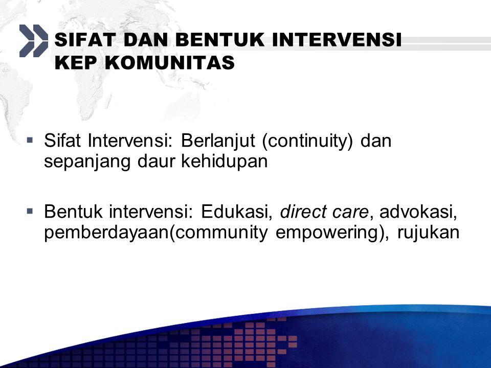 SIFAT DAN BENTUK INTERVENSI KEP KOMUNITAS  Sifat Intervensi: Berlanjut (continuity) dan sepanjang daur kehidupan  Bentuk intervensi: Edukasi, direct care, advokasi, pemberdayaan(community empowering), rujukan