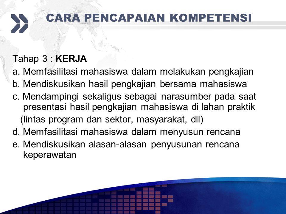 CARA PENCAPAIAN KOMPETENSI Tahap 3 : KERJA a.Memfasilitasi mahasiswa dalam melakukan pengkajian b.