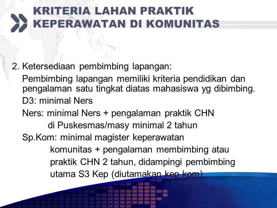 KRITERIA LAHAN PRAKTIK KEPERAWATAN DI KOMUNITAS 2.