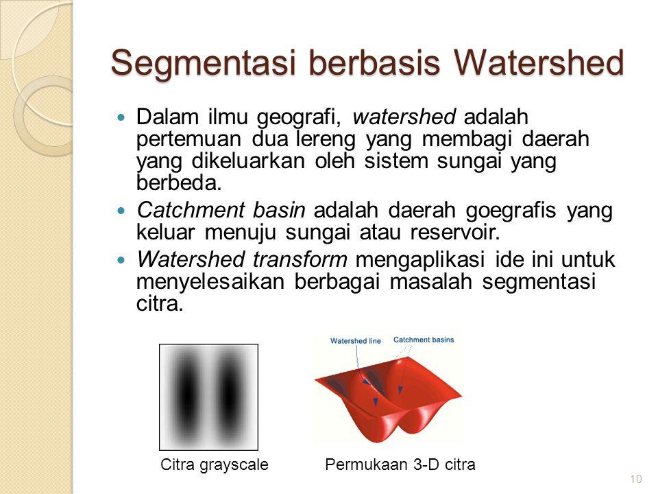 Segmentasi berbasis Watershed Dalam ilmu geografi, watershed adalah pertemuan dua lereng yang membagi daerah yang dikeluarkan oleh sistem sungai yang