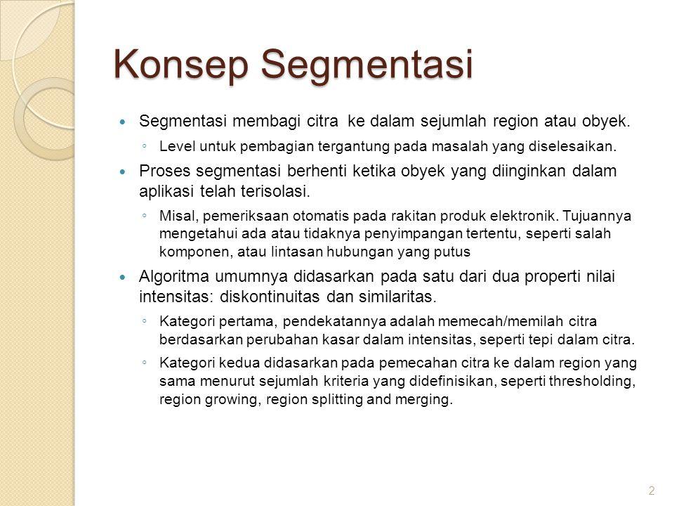 Konsep Segmentasi Segmentasi membagi citra ke dalam sejumlah region atau obyek. ◦ Level untuk pembagian tergantung pada masalah yang diselesaikan. Pro