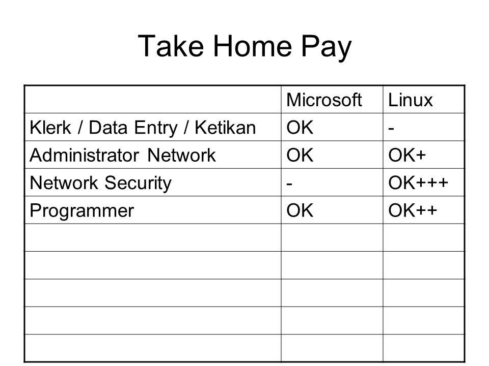 Take Home Pay MicrosoftLinux Klerk / Data Entry / KetikanOK- Administrator NetworkOKOK+ Network Security-OK+++ ProgrammerOKOK++