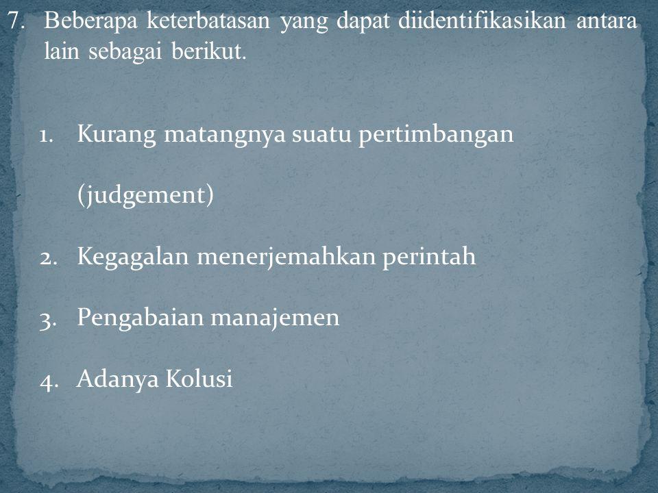 7.Beberapa keterbatasan yang dapat diidentifikasikan antara lain sebagai berikut. 1.Kurang matangnya suatu pertimbangan (judgement) 2.Kegagalan menerj