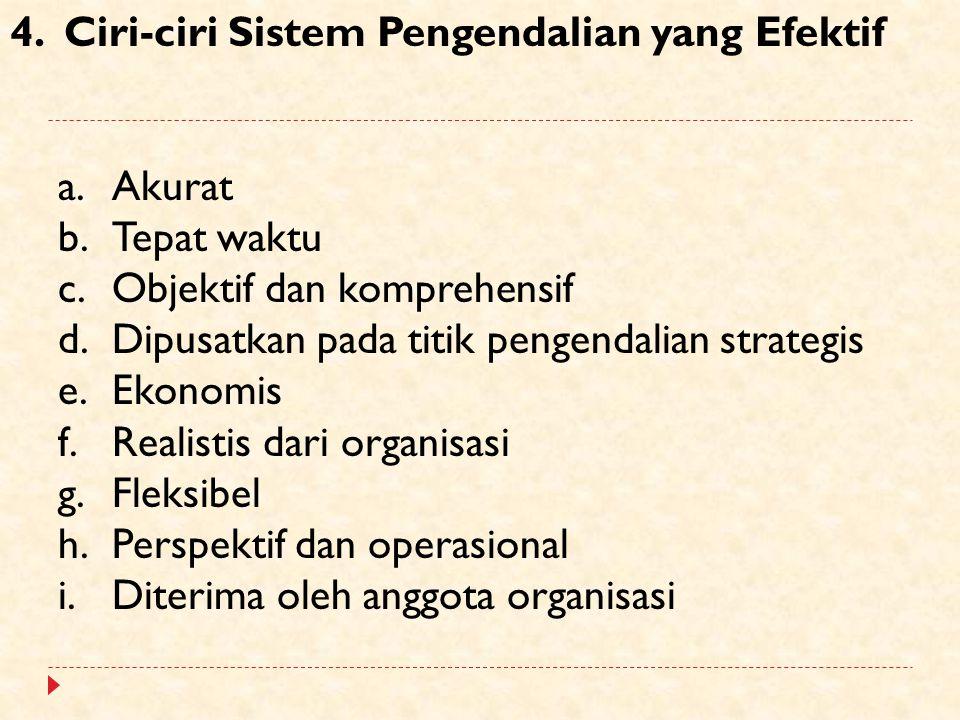 4.Ciri-ciri Sistem Pengendalian yang Efektif a.Akurat b.Tepat waktu c.Objektif dan komprehensif d.Dipusatkan pada titik pengendalian strategis e.Ekono
