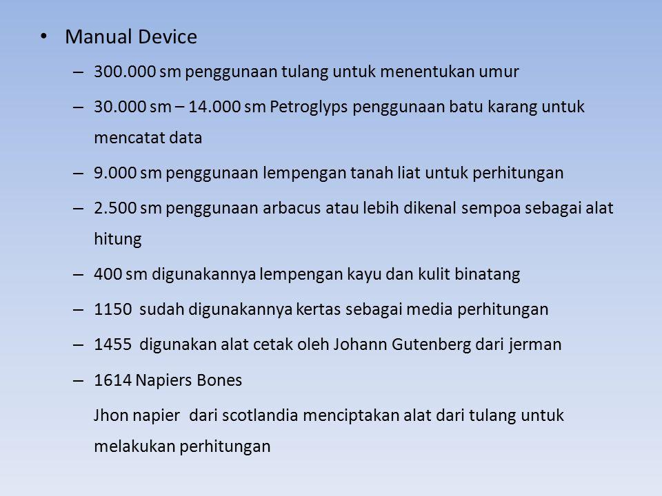 Manual Device – 300.000 sm penggunaan tulang untuk menentukan umur – 30.000 sm – 14.000 sm Petroglyps penggunaan batu karang untuk mencatat data – 9.0