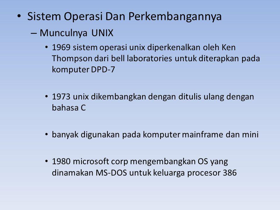 Sistem Operasi Dan Perkembangannya – Munculnya UNIX 1969 sistem operasi unix diperkenalkan oleh Ken Thompson dari bell laboratories untuk diterapkan p