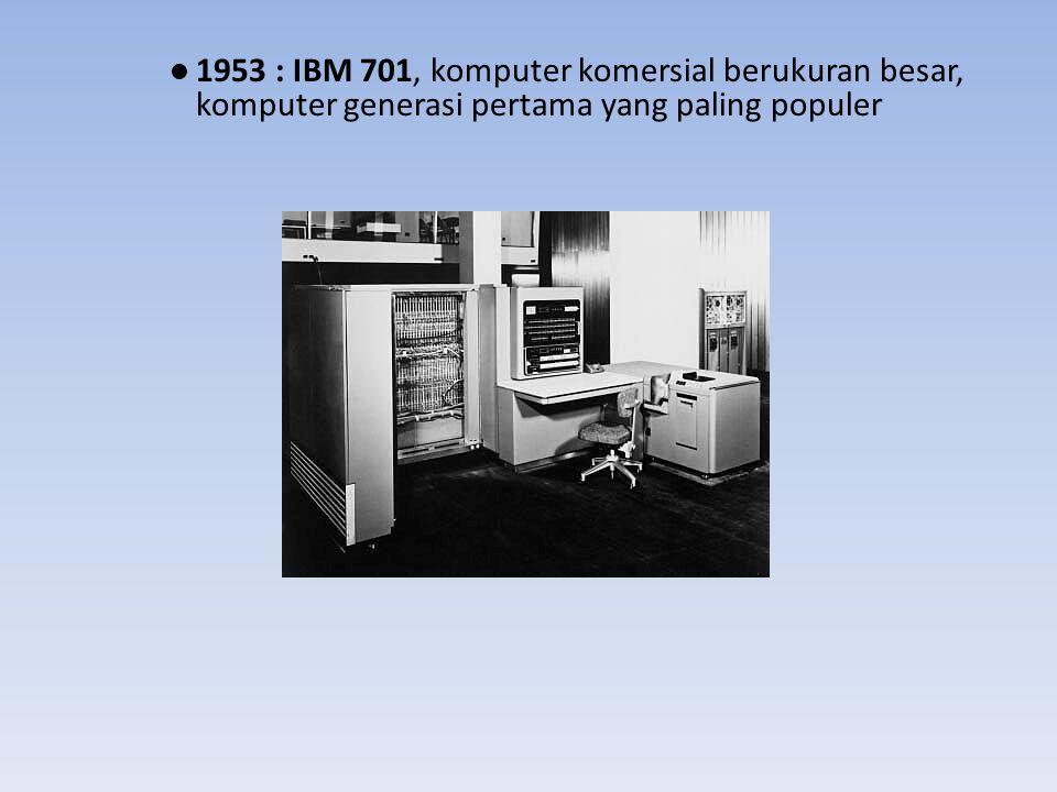 Komputer Generasi Kedua ( 1959 – 1964 ) Sirkuitnya berupa transistor Program dapat dibuat dengan bahasa tingka tinggi ; COBOL, FORTRAN, ALGOL Kapasitas memori utama sudah cukup besar Proses operasi sudah cepat Membutuhkan lebih sedikit daya listrik Berorientasi pada bisnis dan teknik