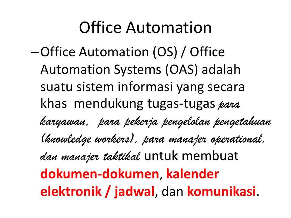Office Automation – Office Automation (OS) / Office Automation Systems (OAS) adalah suatu sistem informasi yang secara khas mendukung tugas-tugas para