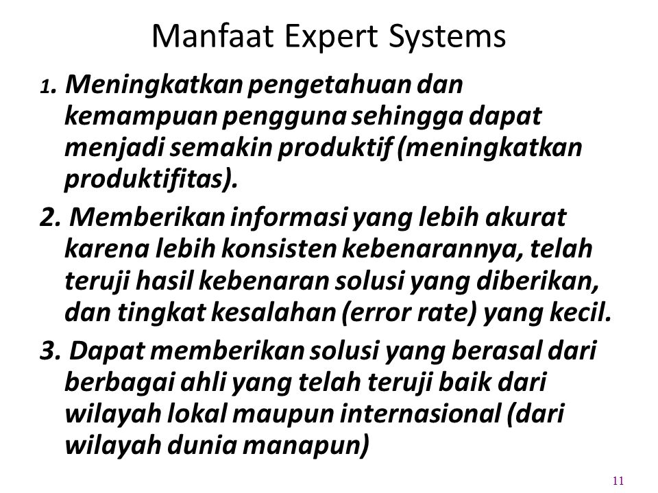 Manfaat Expert Systems 1.