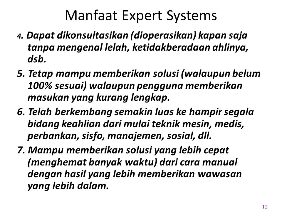 Manfaat Expert Systems 4.