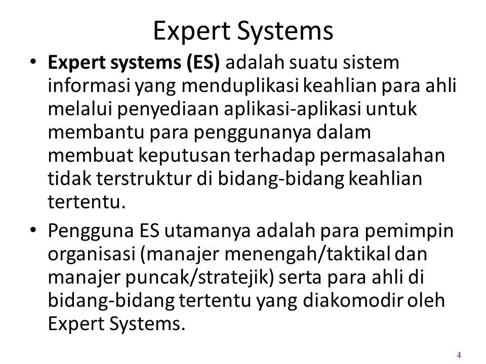 Expert Systems Expert systems (ES) adalah suatu sistem informasi yang menduplikasi keahlian para ahli melalui penyediaan aplikasi-aplikasi untuk memba