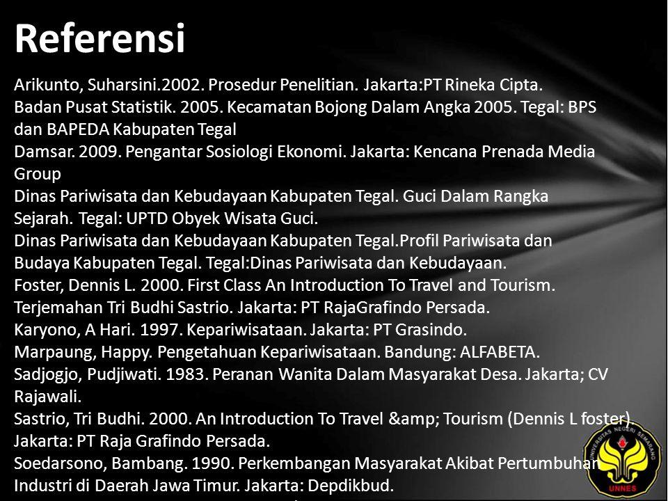 Referensi Arikunto, Suharsini.2002. Prosedur Penelitian. Jakarta:PT Rineka Cipta. Badan Pusat Statistik. 2005. Kecamatan Bojong Dalam Angka 2005. Tega