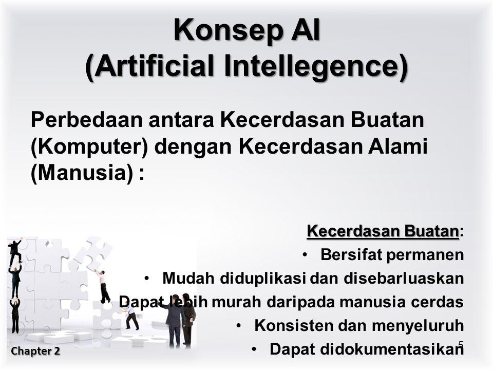 Perbedaan antara Kecerdasan Buatan (Komputer) dengan Kecerdasan Alami (Manusia) : Kecerdasan Buatan Kecerdasan Buatan: Bersifat permanen Mudah diduplikasi dan disebarluaskan Dapat lebih murah daripada manusia cerdas Konsisten dan menyeluruh Dapat didokumentasikan 5 Konsep AI (Artificial Intellegence) Chapter 2