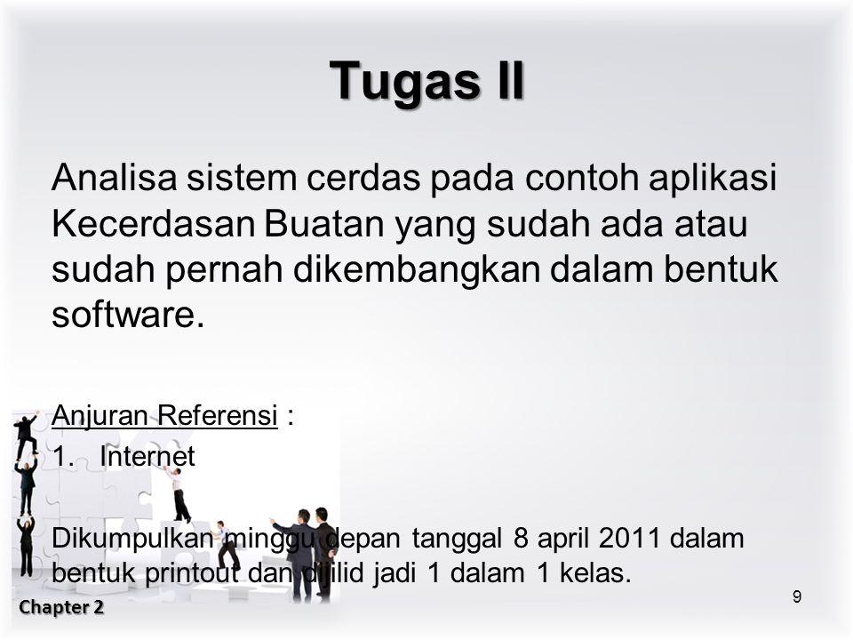 Tugas II Analisa sistem cerdas pada contoh aplikasi Kecerdasan Buatan yang sudah ada atau sudah pernah dikembangkan dalam bentuk software.