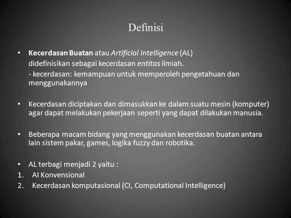 Definisi Kecerdasan Buatan atau Artificial Intelligence (AL) didefinisikan sebagai kecerdasan entitas ilmiah. - kecerdasan: kemampuan untuk memperoleh